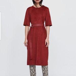 Zara Midi Suede Belted Dress